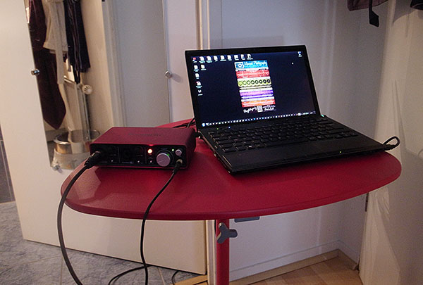 Outside the bathroom, the brave computer and the external Focusrite Scarlett 2i2 soundcard.